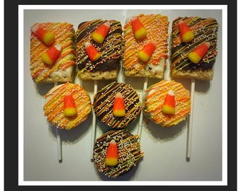 Thanksgiving, Fall theme, Candy Corn chocolate covered oreos or rice krispie pops