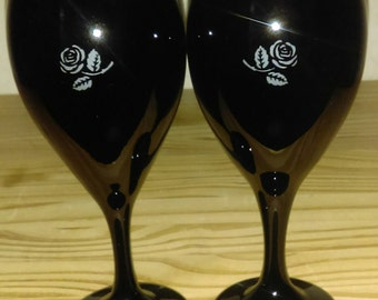 Black Wine Glasses with Etched Rose