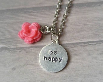 Be happy stamped necklace with pink flower charm