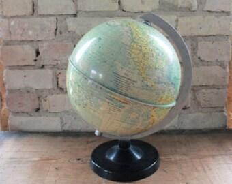 Vintage world globe, GDR, desk decor, gift