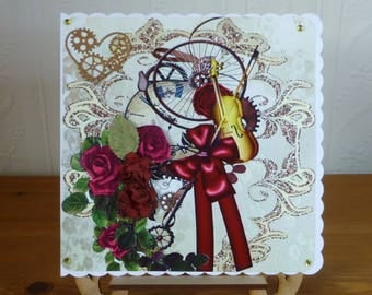 Steampunk Red Roses Wedding Day Card