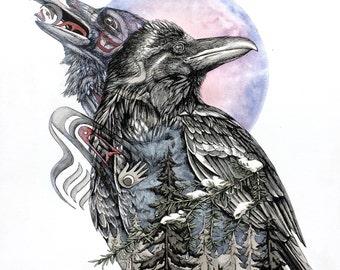 Raven Totem Print