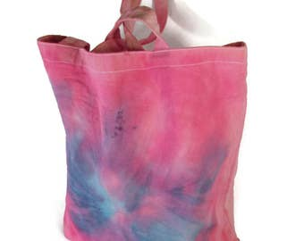 Tote Bag, Butterfly Design, Pink Tote Bag, Beach Bag, Summer Bag, Hand dyed Tote, Tie Dyed Tote, Unique Tote, Canvas Tote, Shibori  Bag