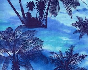 OCEAN AVE. - Tropical Sunset in Blue - Beautiful Cotton Quilt Fabric - Avenue - Kanvas Studios for Benartex Fabrics - 5959-50 (W3727)
