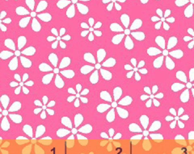 WINDHAM BASICS - BRIGHTS - Daisy in Pink - Cotton Quilt Fabric - Basic Daisies Floral - by Windham Fabrics - 29399-4 (W3796)