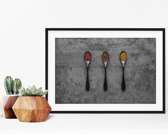 spices v. one // food photography print // kitchen decor // kitchen wall art  // dining room wall art // rustic wall art // spoons