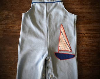 Vintage Baby boy sailboat overalls.