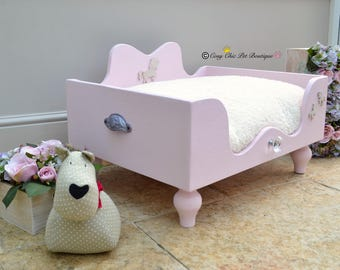 Pink Unicorn Dog Bed Cat Bed XX-Small Ballerina Pink and White Sparkle Glitter Pet Bed