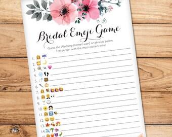 "Fun Bridal Shower Emoji Game, Pink Bridal Shower Floral Game Board, INSTANT DOWNLOAD, Guess the Wedding Phrase Emoji Game 5""x7"""
