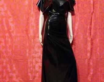 long black ruffle top dress