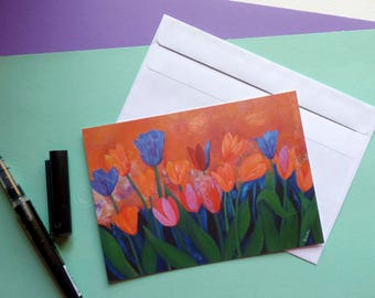 Postcard, Flowers Postcard print, Tulips, Art postcard print, reproduction print