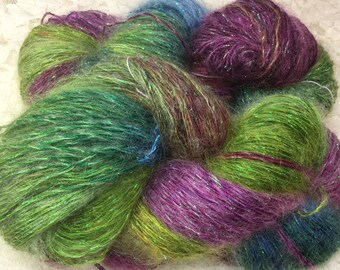 Hand dyed silk and kid mohair sparkle sport 100 yds sage scarf or shawl knitting