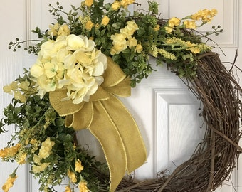 HYDRANGEA WREATH,Yellow Flower Wreath, Spring Wreath,Summer Wreath,Grapevine Wreath, Wedding Wreath,Front Door Wreath,Boxwood Wreath