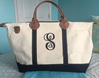 Canvas Fabric Weekender Tote Bag - Monogrammed - Weekender Tote Bag - Various Trim Colors