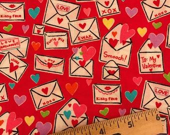 red and pink valentine fabric, valentine fabric, valentine letters fabric, swak fabric