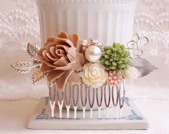 Tan Rose Olive green Ivory flowers Silver leaves Country garden hair accessory Bridal silver hair comb Flower wedding hair comb