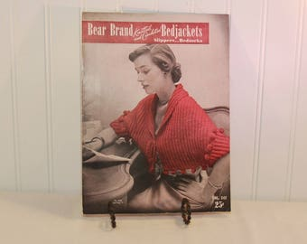 Vintage Bear Brand Knitted and Crocheted Bedjackets, Slippers, Bedsocks, Volume 342 (c. 1951) Vintage 1950's Knitting and Crocheting Booklet