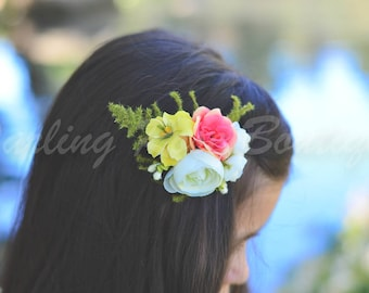 Pink yellow and white color silky flower clip wedding flower girl spring ballet dance flower clip