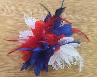 Union Jack Blue Red White Fascinator Black Headband Clip Comb Flower Corsage