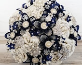 Paper Flower wedding bouquet origami kusudama rose sheet music pages midnight navy blue blossom Vintage Brooches something blue theme bridal