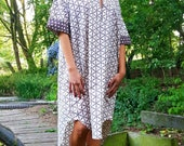 SALE !!! Oversized  Long Shirt Tunic Dress made in Pure Cotton Brown geometric  handmade  Block Print with POCKETS