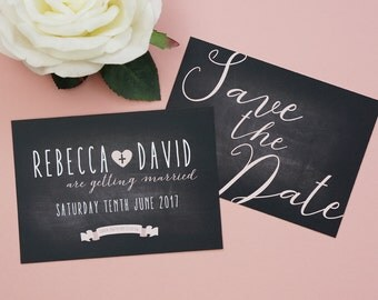 Wedding Save the Date Cards - Chalkboard Theme