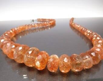 Outstanding Sunstone Necklace orange Sun05 african sunstone tanzania sunstone birthstone march 925 silver jewelry,birthday,present
