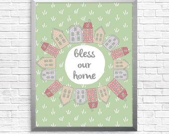 Bless our home illustration, instant download, home quote, houses, scripture, wall decor, digital art, whimsical drawing, new home gift