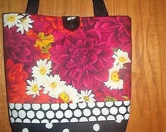 CRICKET COURT Boutique tote bag, purse, handbag-dahlia fabric-original handmade USA