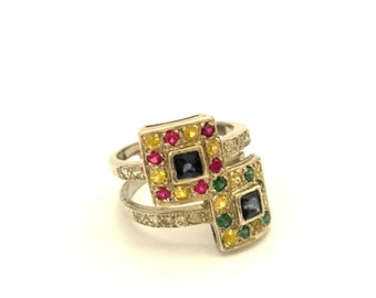 Vintage Silver 925 Ring Green Peridot Red Ruby Yellow Citrine Blue Sapphire Excellent