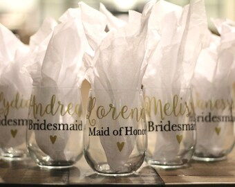 Bridesmaids wine glasses, stemless wine glasses, wedding wine glasses