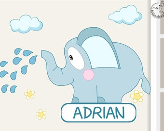 Wall decal elephant door sign children nursery with name