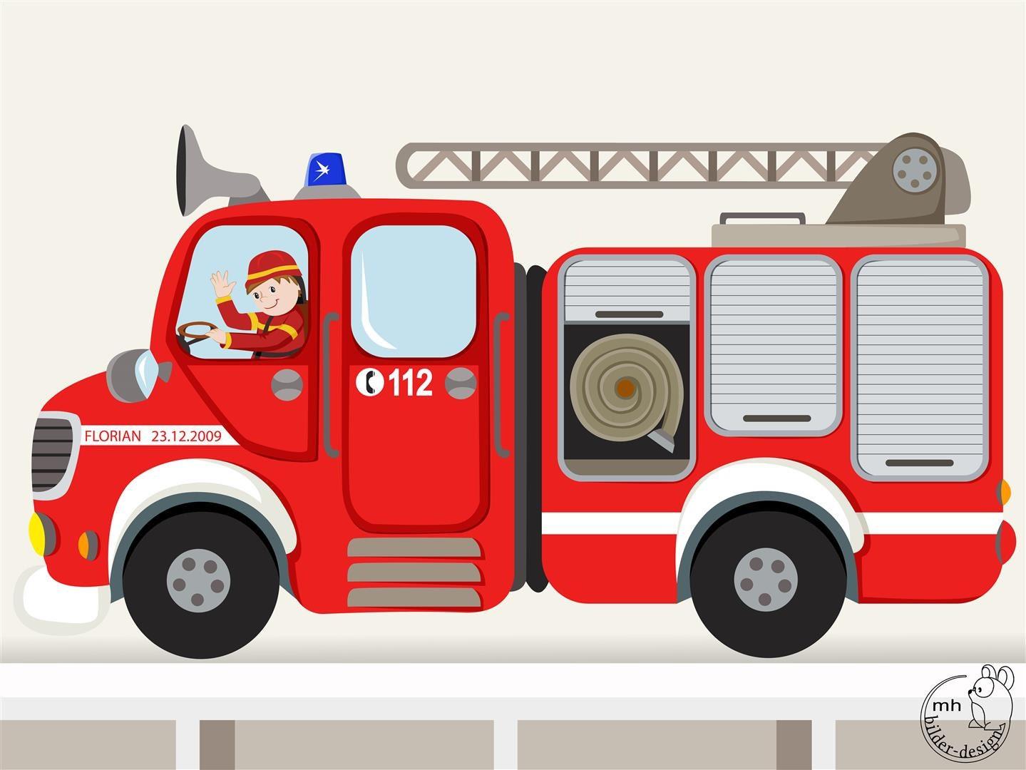 Wandtattoo feuerwehrauto rund xxl - Feuerwehr wandsticker ...