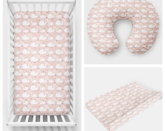 Blush Mama and Me Swan Changing Pad or Sheet or Boppy or Cloud Blanket or Swaddle Blanket or Receiving Blanket | Nursery Bedding | Baby Bedd