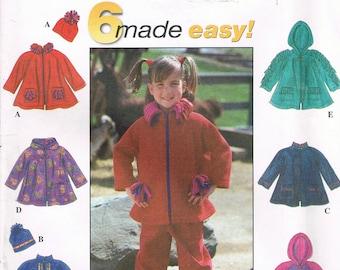 Sizs 3-6 Girl's Easy Fleece Jacket Sewing Pattern - Hooded Jacket Sewing Pattern - Zipper Jacket Pattern - Simplicity 8297