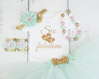 HALF BIRTHDAY Baby Girl Tutu Outfit,Six Month Photo Outfit,6 Month Birthday Bodysuit,Headband,Necklace,Sandal,Mint Gold Six Month Fabulous
