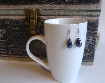 Dark blue crystal drop earrings, teardrop, sparkly, gift for women, stocking stuffer, handmade by Felicianation