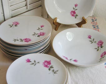Vintage Mid Century Set of 21 Pink Roses Porcelain Luncheon Serving Pieces 10 Luncheon Plates 9 Dessert Plates 2 Serving Bowls Japan