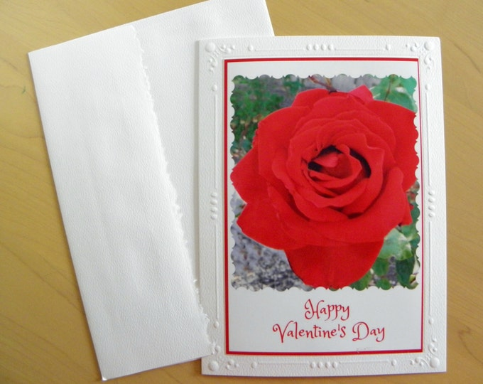 RED ROSE VALENTINE Card Ships Free, handcrafted with red old-fashioned script-style text, Coordinating Envelope