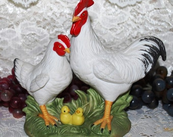 "Homco #1458 Rooster & Hen W/ Baby Chicks 5-1/4"" Figurine"