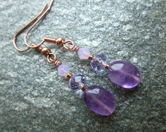 rose gold amethyst drop earrings, rose gold crystal drop earrings, purple dangle earrings, swarovski crystal earrings, lilac drop earrings