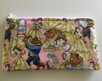 SALE! Disney-Inspired Beauty and the Beast Handmade Fabric Large Zipper Pouch/Makeup Bag