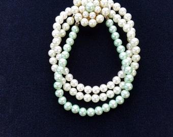 Vintage 3 Strand Faux Pearl Bracelet  #37