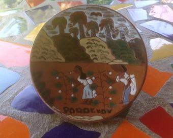 vintage terra cotta hand painted folk art plate by H. Sanchez Aregua- Paraguay