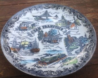 Vintage ceramic hand painted souvenir plate- San Francisco