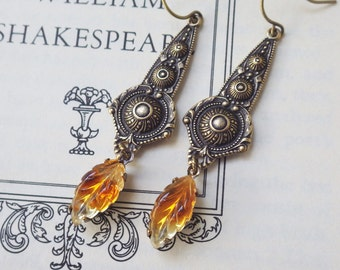 Boho Topaz Earrings ~ Honey Topaz ~ Vintage Glass ~ Rare ~ Amber Topaz ~ Vintage Style ~ by LadyofTheLakeJewels