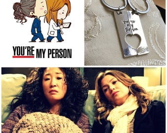 "Double Keychain Grey's Anatomy Inspired Meredith and Christina Handmade Engraved ""You're my person"" - BFF"