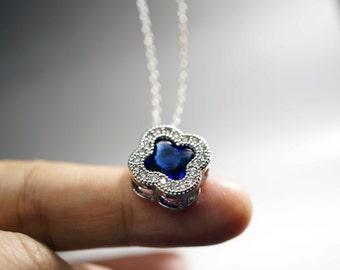 Sapphire Pendant - Sapphire Necklace - September Birthstone Necklace - Gorgeous CZ Necklace   Blue Crystal Necklace