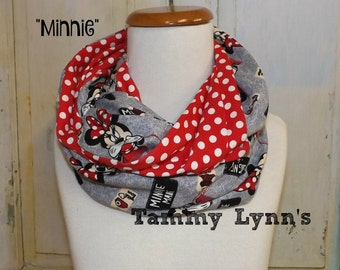 Minnie Mouse On Gray with Red/White Polka Dots Infinity Scarf Kid's Girl's Accessories