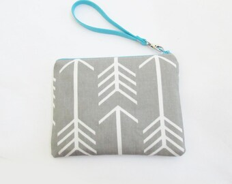 Wristlet - Personalized Pouch with name or initials - in Chevron Solids or Damask - Customized Stocking Stuffer - Small